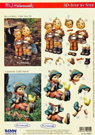 Hummel Boys By a Stream & Talking To a Bird 3d Decoupage Sheet by Reddy